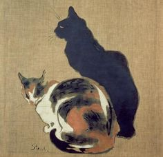 poboh:  Two Cats, 1894, Theophile Alexandre Steinlen.  Swiss-born French Art Nouveau Painter and Printmaker, (1859-1923)