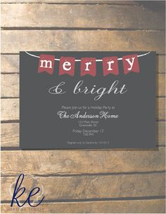 Holiday party merry and bright 5x7 24 by kedesignstudio on etsy 35