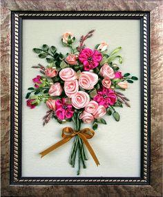 """""""Букет роз с бантиком""""  (миниатюра) - вышитая лентами и бисером картина Загорной Евгении UAH 256.00"""