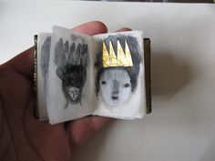 Cathy Cullis- More like an artist book then a zine, but I really love the simplicity of her drawings, and focus on using interesting paper and materials like the gold crown to add meaning and appeal. Altered Books, Altered Art, Art Postal, Instalation Art, Illustration Art, Illustrations, Buch Design, Book Journal, Art Journals