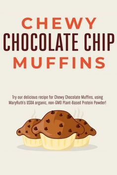 Chocolate Morsels, Chocolate Chip Muffins, Chocolate Chips, Muffin Recipes, Baking Recipes, Potato Recipes, Breakfast Recipes, Plant Based Protein Powder, Just Desserts
