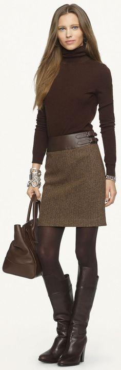 @roressclothes clothing ideas #women fashion Ralph Lauren Black Label - Leather-Trimmed Kieron Skirt