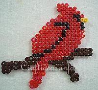 bead+bird   Fuse Beads or Perler Beads Cardinal Bird Pattern