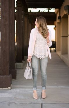 grey skinny jeans lace top