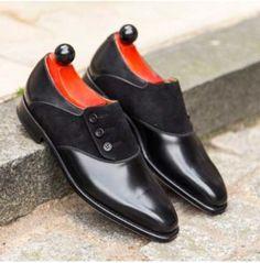 Handmade Men Formal Shoes, Men Black Button Shoes, Mens Button Shoes - Dress/Formal