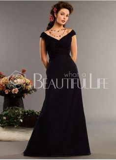 Noble Satin Chiffon Off-The-Shoulder Pleats Mother of the Bride Dress
