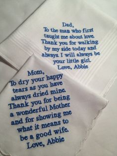 Wish i would have thought of this when i got married: Set of Two Personalized WEDDING HANKIE'S Mother & Father of the Bride Gifts Hankerchief - Hankies. Wedding Wishes, Wedding Gifts, Our Wedding, Dream Wedding, Wedding Stuff, Wedding Music, Fall Wedding, Wedding Reception, Tangled Wedding