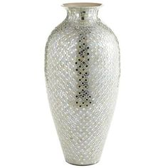 Large Vase covered in tiny mirrored-glass tiles. Very Glamorous Bling for the Great Room, from Pier One