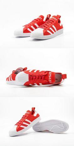 ffc3465b688 adidas Originals Superstar 80s Primeknit  Red White Basketball Sneakers