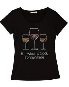 41d51429 It's Wine O'Clock Somewhere Fun Women T-Shirt With Rhinestones For Wine  Lovers