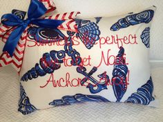 Lilly Pulitzer 10 rules for party crashing. Summers the best time to get Nauti! Anchors Away! Nautical Lilly Pulitzer fabric pillow cover