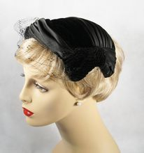 6e7a54c9b50 SOLD Vintage 1950s Hat Black Satin and Velvet Pleated Cocktail by Mr Morton  G 1950s Fashion