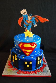 superman cake-- top off with actual action figure