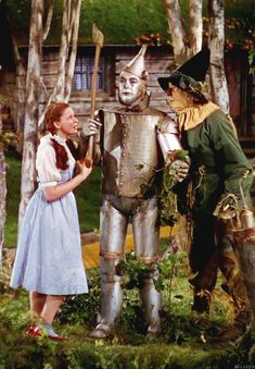 "Judy Garland, Jack Haley (The Tin Man), Ray Bolger (The Scarecrow) in  ""The Wizard of Oz"", 1939"