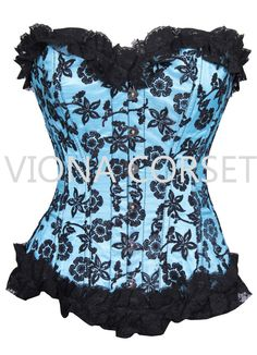 b8a6c9a578 Romance Full Bust Blue Corset Colleen Lacing in back of corset. Steel boning  in front and back of corset. Refer to our size chart.