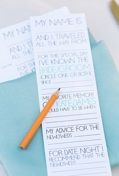 Brides.com: . Print out info cards for guests to fill out with marriage advice and date night recommendations.