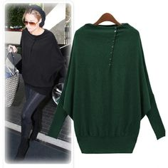 New Europe Womens ladies Batwing Long Sleeve Loose Sweater Cardigan Pullover