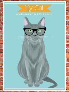 hipster cat print