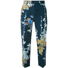Pt01 floral-print cropped trousers (55.645 HUF) ❤ liked on Polyvore featuring pants, capris, blue, floral printed pants, blue trousers, floral crop pants, flower print pants and floral pants
