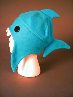 fleece shark hat. No free pattern but cute idea