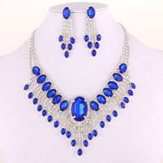Sapphire Blue Glass Crystals Prom Silver Tone Fashion Necklace Earrings Set  #FashionJewelry