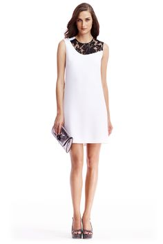 The DVF Kaleb Ceramic and Embellished Lace Shift Dress in White/Black