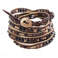 Bracelet wrap gold & brown...
