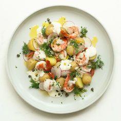 Potato & Prawn Salad w Lemon Yoghurt, Capers & Radish by Chef Mike Ward