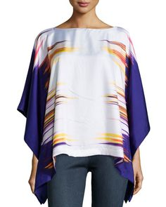 T9TAA Natori Printed Prism Silk Caftan Top, Ink