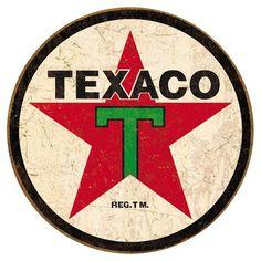 Plaque métal Texaco logo rond #decoration #retro #plaque