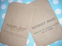 50 Midnight Snack Brown Kraft Favor Bags - Custom Wedding Favor Candy Buffet Lolly Bar - Contact for Other Quantities
