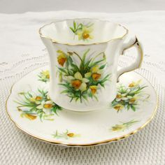 Hammersley Tea Cup and Saucer with Daffodils, Vintage Bone China
