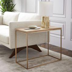 Streamline Side Table - Whitewashed/Light Bronze | west elm