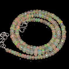 "54CRTS 4to6.5MM 18"" ETHIOPIAN OPAL FACETED RONDELLE BEADS NECKLACE OBI1729 #OPALBEADSINDIA"