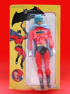 A Chinese-made bootleg figure toy meant to emulate the DC Comics character Batman range of action figures by Mego, 1973-74, United States, maker unknown.