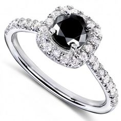 Round Brilliant Black and White Diamond Engagement Ring 3/4 carats (ctw) in 14k White Gold