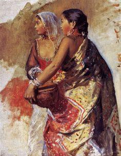 Edwin Lord Weeks (American artist, 1849 – 1903) Sketch - Two Nautch Girls