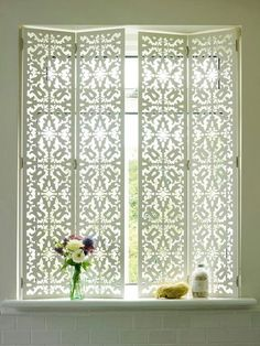 New Bathroom Window Treatments Privacy Interior Shutters 60 Ideas Interior Shutters, Interior Windows, Diy Shutters, Repurposed Shutters, Louvered Shutters, Bathroom Window Treatments, Bathroom Windows, Bathroom Wallpaper, Bathroom Window Privacy