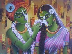 Krishna Painting, Krishna Art, Krishna Lila, Krishna Images, Radhe Krishna, Indian Art Paintings, Amazing Paintings, Mother And Baby Paintings, Modern Indian Art