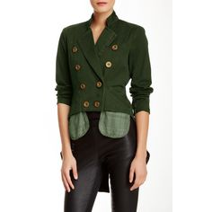 L.A.M.B. Cropped Military Jacket ($70) ❤ liked on Polyvore featuring outerwear, jackets, olive, army green jacket, olive field jacket, olive green jacket, military jacket and olive green military jacket