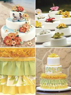 Hawaiian Luau Wedding mix of Ideas for cake, mini-cake and decor (idéias para um casamento luau havaiano) Plumeria or Jasmim-manga and hibisco (hibiscus)
