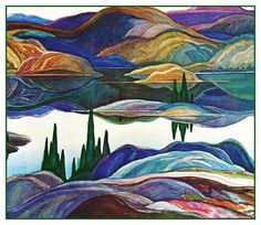 Franklin Carmichael's Mirror Lake Ontario Canada Landscape Counted Cross Stitch…