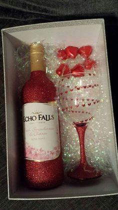 Valentines Glitter Glass Set