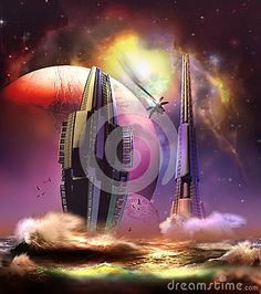 City on the sea, on a far planet. A shuttle in flames crossing the sky.