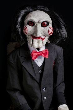 Saw puppet prop halloween dummy doll movie haunted horror ooak evil jigsaw trap Jigsaw Doll, Jigsaw Saw, Monster Horror Movies, Horror Movie Characters, Horror Movie Costumes, Monster Movie, Costume Halloween, Jigsaw Halloween, Halloween Diy