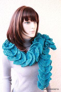 CROCHET RUFFLE SCARF  Turquoise  Crochet by CrochetedByLyubava