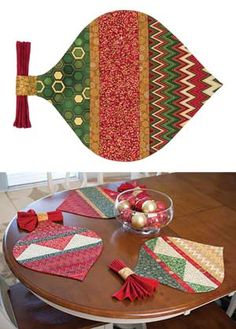 handmade quilted christmas placemats quilted placemats with napkinschristmas placemats sewing pinterest christmas placemats napkins and christmas - Christmas Placemats And Napkins