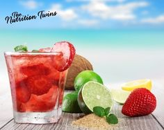 Slimming Strawberrry & Mint Detox Spritzer! | Great way to quench a sweet tooth with just 8 refreshing calories! | Also flushes bloat by restoring normal hydration status! | For MORE RECIPES please SIGN UP for our FREE NEWSLETTER www.NutritionTwins.com