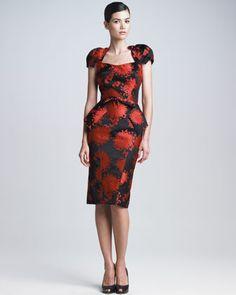 Peony Jacquard Peplum Dress by Zac Posen at Bergdorf Goodman.