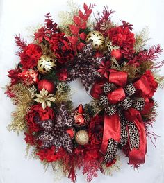 Christmas Wreath Christmas Animal Leopard Print by WreathbyHH, $109.95